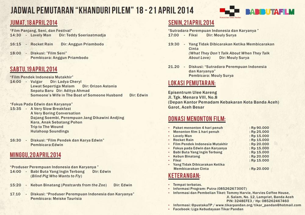 Berikut Jadwal Pemutaran Film di 'Khanduri Pilem'