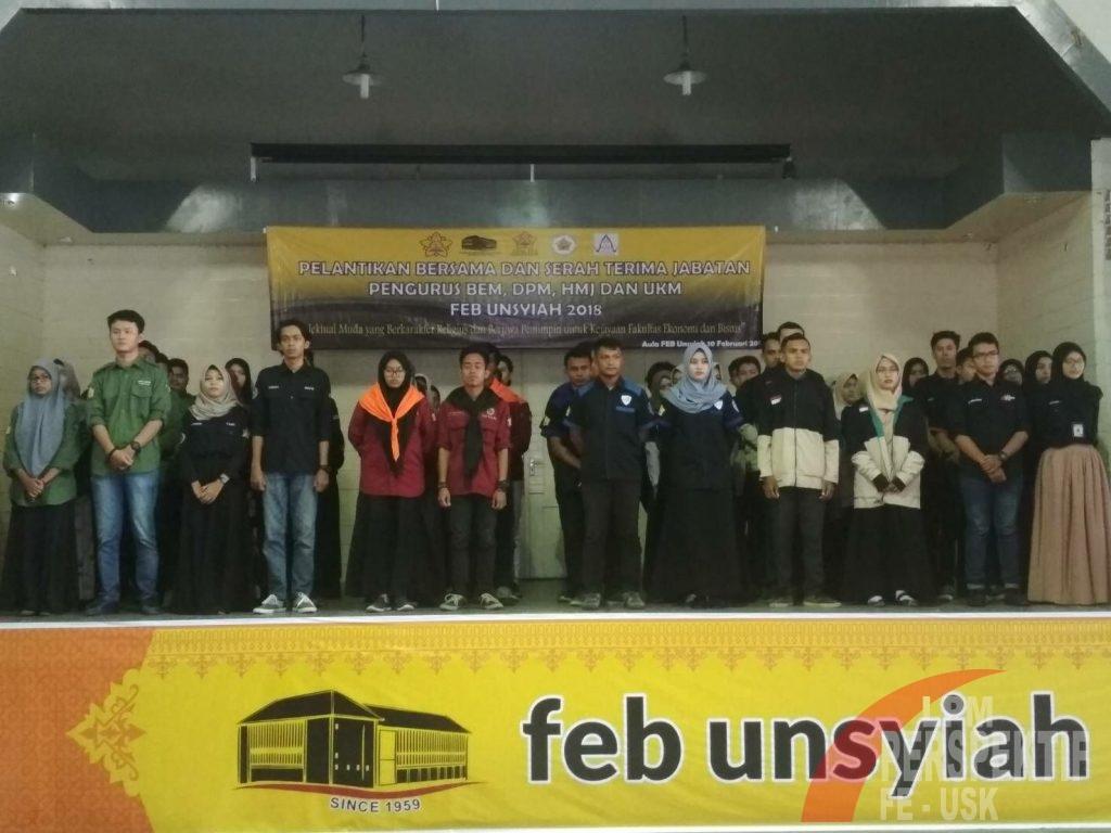 Dekan FEB Unsyiah Lantik Pengurus Organisasi Mahasiswa Periode 2018